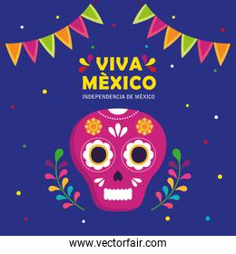 viva mexico, happy independence day, 16 of september with skull and garlands hanging