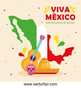 viva mexico, happy independence day, 16 of september with map and traditional icons decorations
