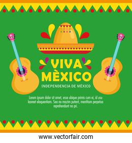 viva mexico, happy independence day, 16 of september with hat and guitars