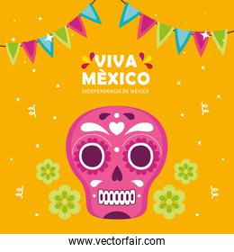 viva mexico, happy independence day, 16 of september with skull and decoration