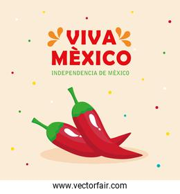 viva mexico, happy independence day, 16 of september with chili peppers