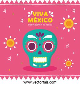 viva mexico, happy independence day, 16 of september with skull and flowers decoration