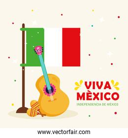 viva mexico, happy independence day, 16 of september with flag, guitar and maracas
