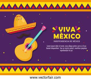 viva mexico, happy independence day, 16 of september with hat and guitar