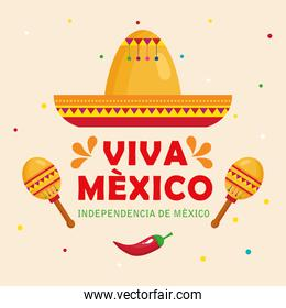 viva mexico, happy independence day, 16 of september with hat, maracas and chili pepper