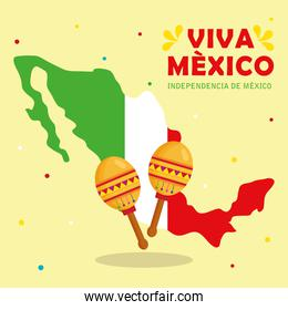 viva mexico, happy independence day, 16 of september with map and maracas