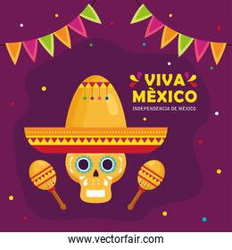 viva mexico, happy independence day, 16 of september and skull with hat, maracas and garlands hanging