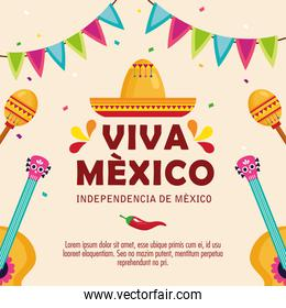 viva mexico, happy independence day, 16 of september hat traditional and decoration