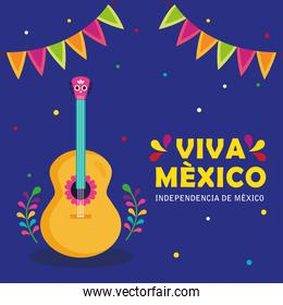 viva mexico, happy independence day, 16 of september with guitar and garlands hanging decoration