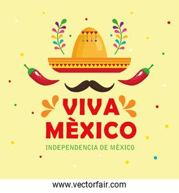 viva mexico, happy independence day, 16 of september with hat, moustache, chili peppers and decoration