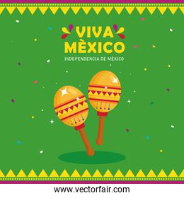 viva mexico, happy independence day, 16 of september with maracas