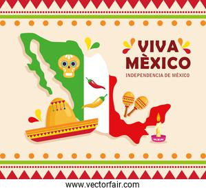 viva mexico, happy independence day, 16 of september and map with traditional icons decorations