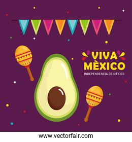 viva mexico, happy independence day, 16 of september with avocado, maracas and garlands hanging decoration