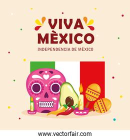 viva mexico, happy independence day, 16 of september with flag and traditional icons decorations