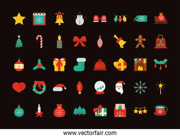 happy merry christmas, decoration ornaments season celebration festive flat icons pack