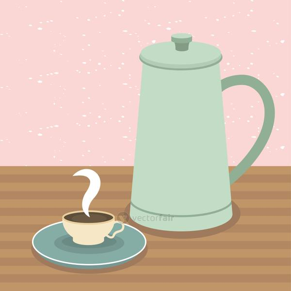 coffee cup and pot on table vector design