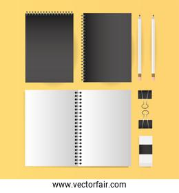 Mockup notebooks pencils and clips vector design