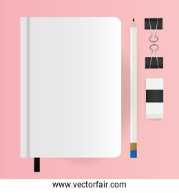 Mockup notebook pencil and clips vector design
