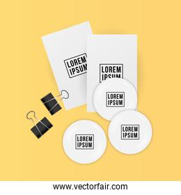 Mockup cards clips and white pins vector design