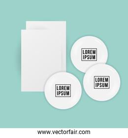 Mockup cards and white pins vector design