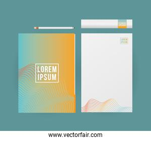 Mockup papers and pencil vector design