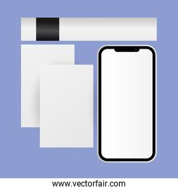 Mockup smartphone and cards vector design