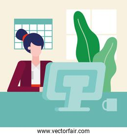 woman with computer at desk in the office vector design