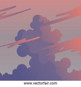 clouds on purple and pink sky vector design