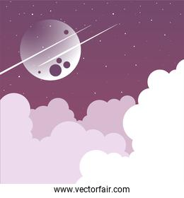 night moon and stars with clouds vector design