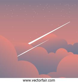 pink clouds on sky with shooting stars vector design