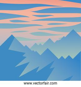 mountains and pink sky with clouds vector design