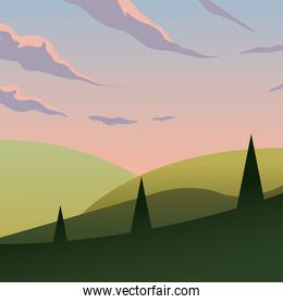 pink sky over pine trees at mountain vector design