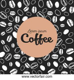 coffee black and white beans background vector design