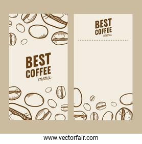 coffee beans papers frames vector design