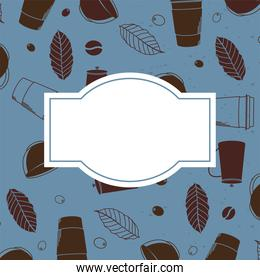 coffee mugs and leaves background with space for text vector design