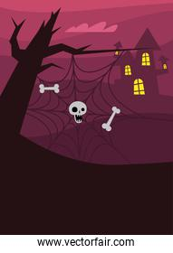 Halloween spiderweb with skull and bones at tree vector design