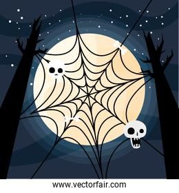Halloween spiderweb with skulls at trees vector design