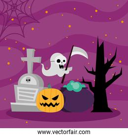 Halloween pumpkin ghost witch bowl and tree vector design