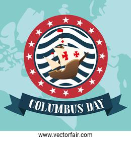 ship in seal stamp with ribbon of happy columbus day vector design