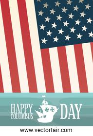 ship and flag of happy columbus day vector design