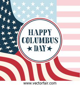seal stamp on usa flag background of happy columbus day vector design