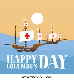 ship at the sea of happy columbus day vector design