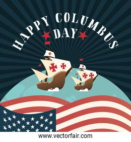 ships on world and usa flag of happy columbus day vector design