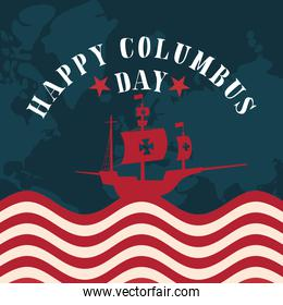 ship on usa flag with map of happy columbus day vector design
