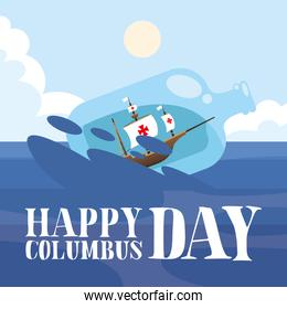 ship inside water bottle at sea of happy columbus day vector design