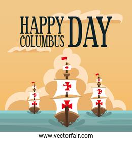ships at the sea of happy columbus day vector design
