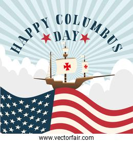 ship on usa flag in front of striped background of happy columbus day vector design