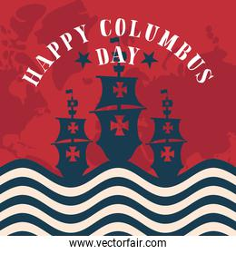ships on usa flag with map of happy columbus day vector design