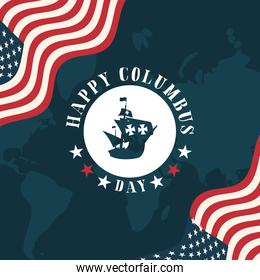 ship on seal stamp between flags of happy columbus day vector design
