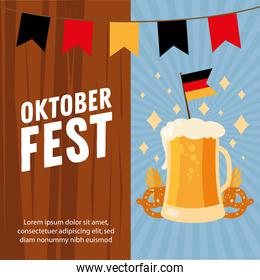 oktoberfest beer glass with flag and banner pennant vector design